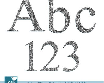 Silver Glitter Alphabet - Digital Clipart / Scrapbooking colorful - card design, invitations, web design - INSTANT DOWNLOAD