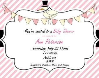 Stork Baby Shower Invitation - Stork Invitation - It's A Girl - Baby Shower Invitation