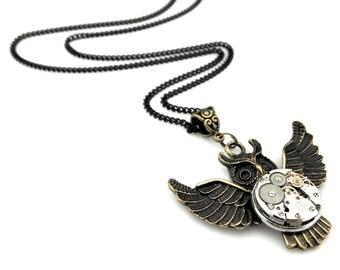 Clockworks Owl Pendant - Clockpunk Owl Necklace - Edwardian Owl pendant - Rustic Owl Necklace - Steampunk Halloween Owl Halloween Gift Idea