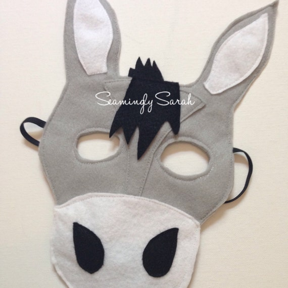 donkey face mask template - kids felt donkey mask handmade kids childs dress up