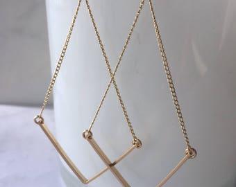Modern pyramid dangle earrings