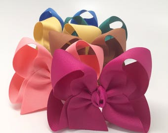 """Hairbow Set -- 6 Colors to Match Matilda Jane Make Believe -- choose 3"""", 4"""", 5"""", 6"""" or 8"""" bows in six colors"""