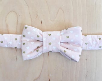 Valentine's Pink & Gold Heart Print Bow Tie For Cats