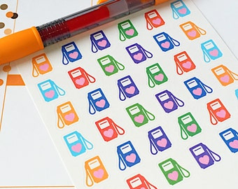 36 Gas Pump Planner Stickers- Car needs gas reminder stickers- perfect for your Erin Condren planner, wall calendar or scrapbook