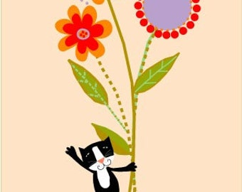 greeting cards small black cat big flower bouquet notecard collection