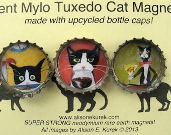 Funny Tuxedo Cat Magnets - Silent Mylo Tuxedo Cat  - Cat Art - Bottle Cap Magnets - Packaged Gift Set of 3 - Cat Gift - Gift for Cat Lover