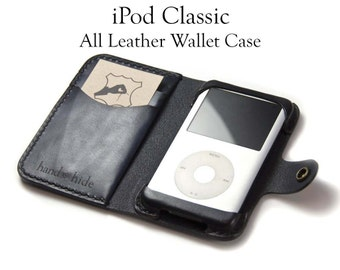iPod Classic Leather Wallet Case, (6th or 7th gen), 80gb, 120gb, 160gb or iPod (5th gen) 30gb, 60gb or 80gb, custom iPod case, leather iPod