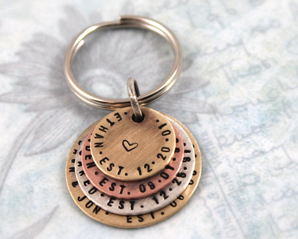Hand stamped personalized keychain with 3 children s names ... edeadc9bd1