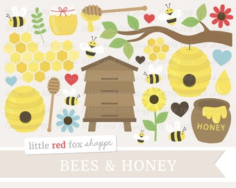 Bees & Honey Clipart, Honey Clip Art, Beehive Clipart, Honey Bee Clipart, Honeycomb Clipart, Digital Graphic Design Small Commercial Use
