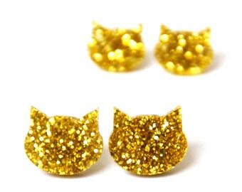 Glitter Cat Studs · Yellow Gold Glitter Cat Earrings · Cat Stud Earring · 2 sizes