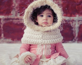 Hoodie Easy CROCHET PATTERN Cowl Cape with Fur Toddler & Girls The BELLE Cowl Crochet Pattern the Danica Collection 2 sizes, 2-10 years