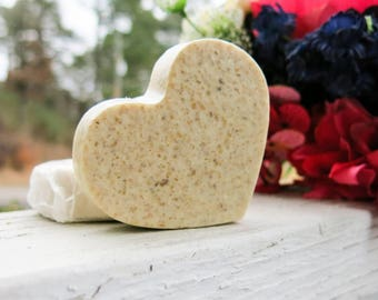 Set of 3, Handmade, Essential Oil Soap - Oatmeal Soap - Heart Shaped Soap