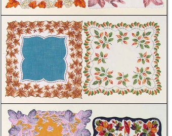 Vintage Hanky Lot,Six Fall Leaves Hankies,Lot of Six Fall Leaves Vintage Hankies Handkerchiefs (Inventory #M2828)