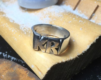 Large Hand Carved Sterling Silver Ring With Initials 9mm X 14mm Face