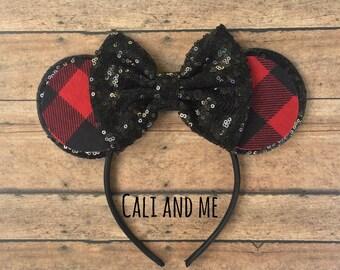 Buffalo Plaid Minnie Mouse Ears, Red and Black Plaid Mouse Ears, Flannel Mickey Mouse Ears, Buffalo Plaid Mickey Ears, Minnie Ears, Disney