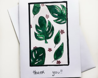 Tropical Leaf Thank You Card