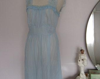 "Vintage 1950s Nylon Lingerie Sleepwear Nightgown Peignoir Sheer Blue 34"" Bust"