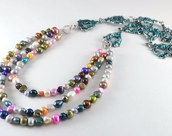 3 strand multi color freshwater pearl necklace