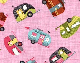 Retro Campers Fabric, Timeless Treasures Fun - C2328 Pink, Motorhomes, Glamping, Vintage Campers, Travel Trailer, Camping Fabric, Cotton