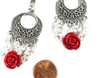 Chandelier Earrings / Crystal Earrings / Rose Earrings / Spanish Earrings / Mexican Earrings