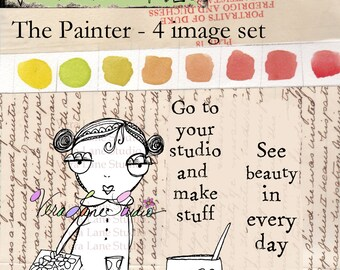 Paint beauty with the Painter digi stamp set available for instant download