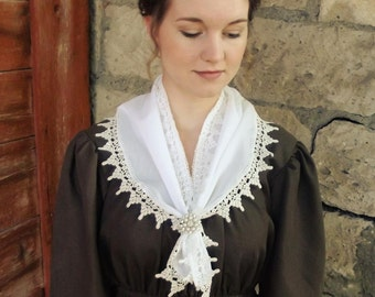 Lace Trimmed White Neck Scarf or Neckerchief, Regency era