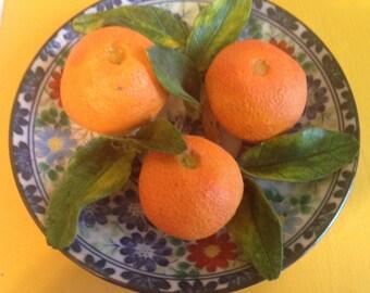 """Christine Viennet Limoges Porcelain Trompe L'oeil 6 """" - clementines"""