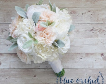 Peony Bouquet, Wedding Bouquet, Silk Bouquet, Silk Wedding Bouquet, Silk Peony Bouquet, Blush Pink Bouquet, Artificial Bouquet, Silk Flowers