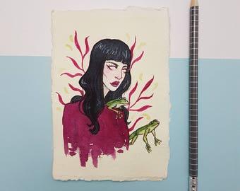 Frog | Small original art, ink drawing, watercolor art, girl illustration, frogs, fantasy art, girl illustration, original drawing