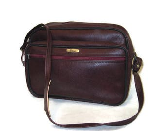 60s Maroon Tote Airline Carry On Vintage Luggage 1960s Vinyl Tote Vegan Friendly Overnight Bag Burgundy Shoulder Bag Travel Bag Wine Red Bag