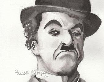 Portrait of Charlie Chaplin watercolor (reproduction)