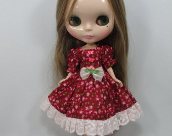 Handcrafted long sleeve dress outfit for Blythe doll 44-17