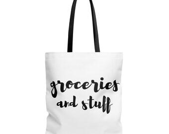 Groceries And Stuff Tote Bag - Grocery Bag | food reusable bags books