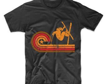Retro Style Skier Silhouette Skiing T-Shirt