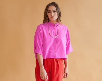 India Pink Collarless Shirt