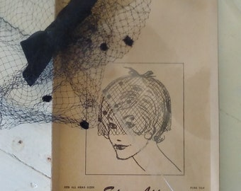 Birdcage Veil/Black Hair Net/Original Box/Advertising/Star Lite All Occasion Whimsy Hat/Fascinator/1960s/Retro/Pure Silk/lindafrenchgallery
