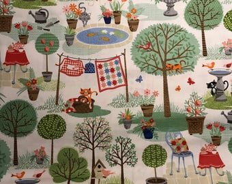 Whimsical Cats in a Garden on a Light Background, Crafty Cats by Andover, 100% Cotton