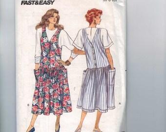 Misses Sewing Pattern Butterick 3099 Misses Easy Drop Waist Jumper Dress Front Back Buttons Size 6 8 10 Bust 30 1/2 31 1/2 32 1/2 UNCUT
