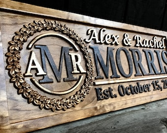 Personalized Wedding Gift Last Name Established Sign Family Name Sign Wedding Sign Personalized Wood Sign Custom Couples Wall Art Gift Idea