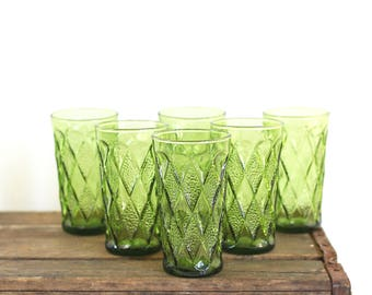 Mid Century Glasses / Mid Century Modern Avocado Green Gemstone Kimberly Glasses by Anchor Hocking / Mid Century Green Glassware