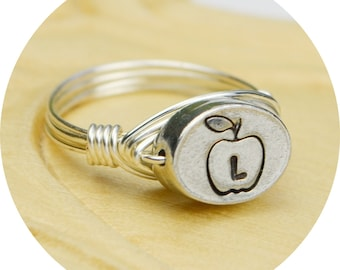 Apple and Any Initial Ring- Sterling Silver Filled Wire Wrapped Ring with PewterTeachers Bead- Any Size 4, 5, 6, 7, 8, 9, 10, 11, 12, 13, 14