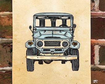 KillerBeeMoto:  Limited Prints Vintage Japanese Engineered SUV (Ink Style Illustration)