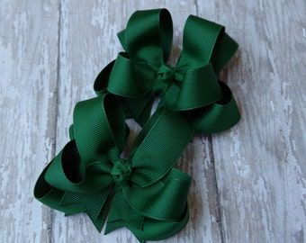 """Girls Hair Bows Hunter Green Boutique 3"""" Double Layer Hairbows Set of 2 Pigtail Bows"""
