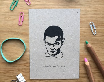 Eleven, stranger things, postcard mix and match set, friends dont lie, greetings card