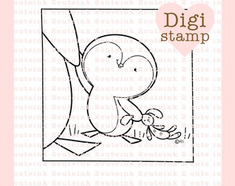 Little Penguin Love Digital Stamp for Card Making, Paper Crafts, Scrapbooking, Hand Embroidery, Invitations, Stickers, Cookie Decorating