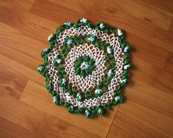 Vintage Crochet Doily. Green And White Handmade Crochet Home Decor. Cottage Chic Retro Cute Circle Doily Decoration.