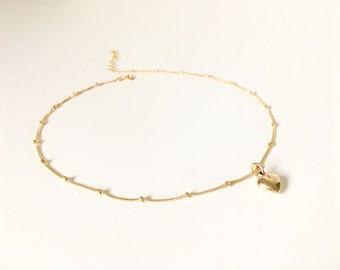Gold Beaded Heart Choker, Rose Gold Beaded Heart Necklace, Silver Satellite Chain Heart Choker, Bohemian Choker, Wedding Jewelry