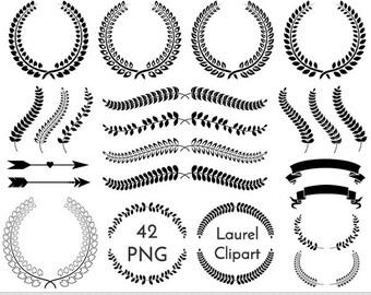 Laurel Clipart Laurel Clip Art Wreath Clipart Wreath Clip Art Wedding Laurel Clipart Invitations Wreath Frames Silhouette Branch Clipart