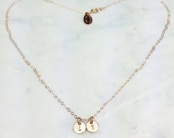 Double disc Teeny Initial necklace