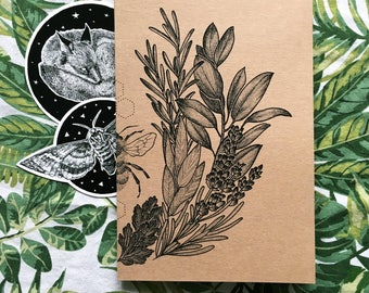 A5 Lavender Bee Recycled Notebook / Sketchbook